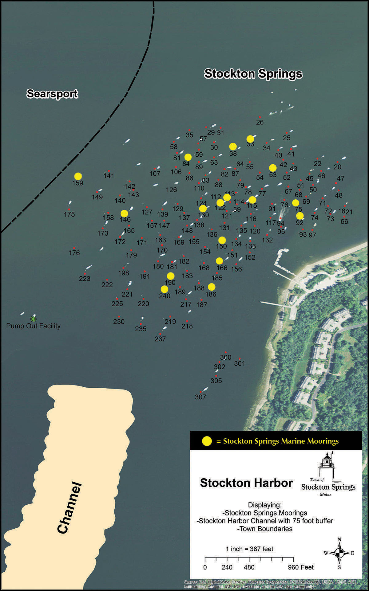 Stockton Springs Marine mooring map
